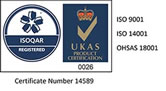 ISOQAR Registered. ISO 9001. ISO 14001. OHSAS 18001. Certificate Number 14589.